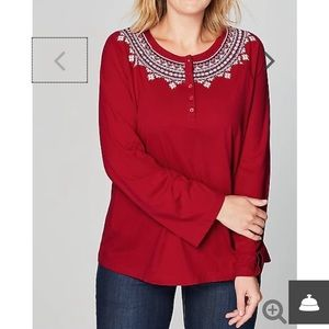 J Jill Embroidered Button Knot Top Long Sleeve Med